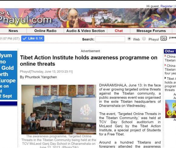 Tibet Action Institute holds awareness programme on online threats