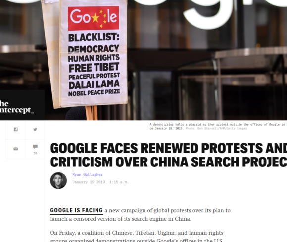 GOOGLE FACES RENEWED PROTESTS AND CRITICISM OVER CHINA SEARCH PROJECT